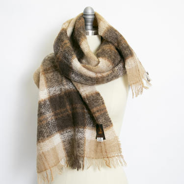 1970s Mohair Oversized Knit Shawl Cream Wrap Scarf by dejavintageboutique
