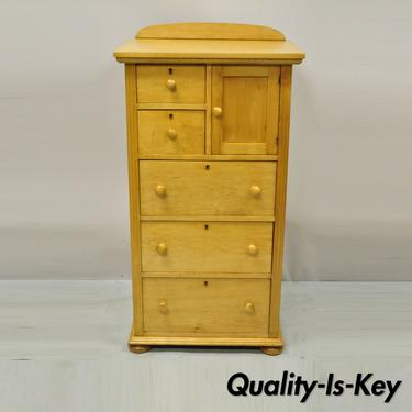 Antique Maple Wood American Empire Tall Chest Washstand Dresser Cabinet Flint ?