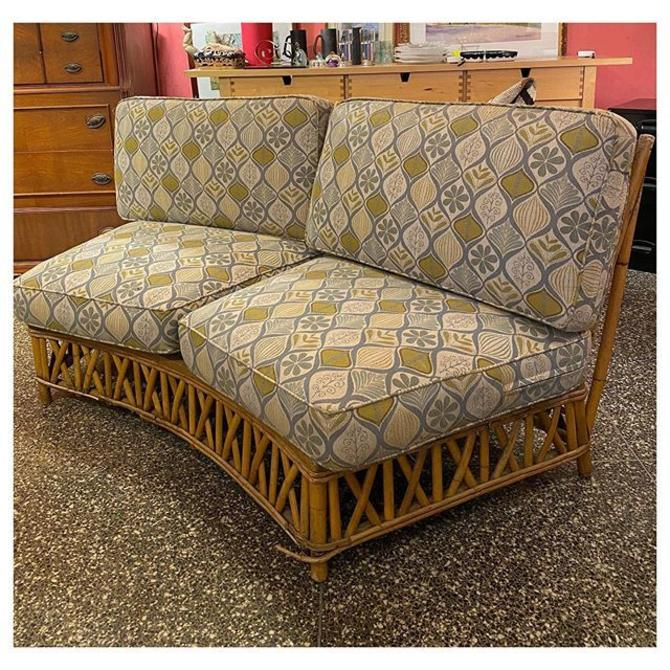 """Comfortable armless two seater rattan / bamboo couch 34"""" height (back) 16.5"""" seat / 30"""" deep"""