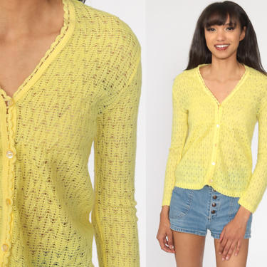 Yellow Cardigan Sweater 70s Pointelle Open Weave Sheer Sweater Vintage Acrylic Knit 80s Slouchy Grandma Slouch Extra Small xs by ShopExile