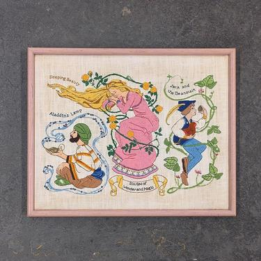 Vintage Crewel 1970s Retro Size 17x21 Embroidery + Stories of Wonderland and Magic + Aladdin + Sleeping Beauty + Jack and the Beanstalk by RetrospectVintage215