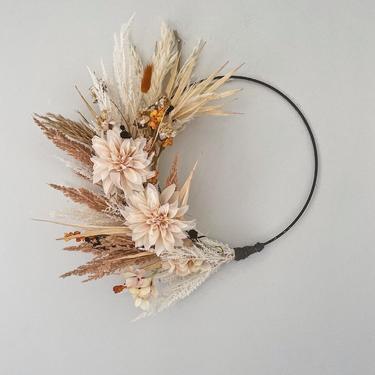 Boho Fall Wreath, Boho Dahlia Wreath, Sun Palm Wreath, Dried Pampas Grass Wreath, Year Round Wreath, Housewarming Gift, Birthday Present by NovaWreaths