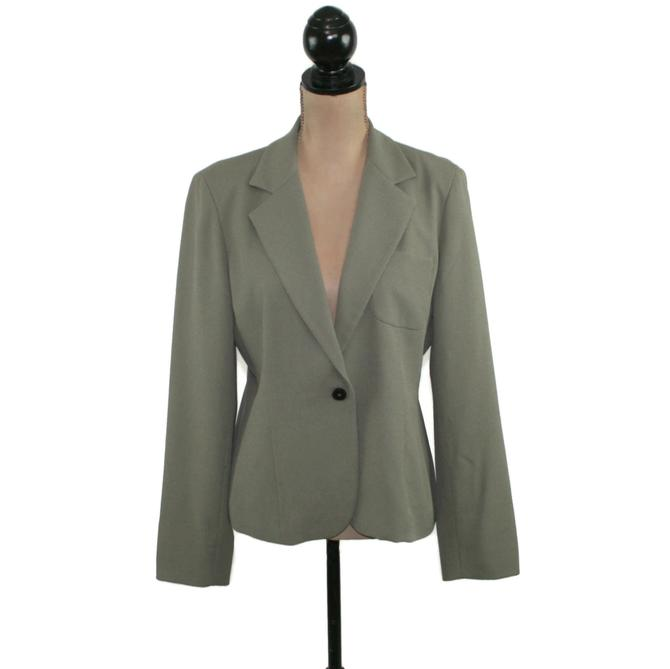 Gray Blazer Women Medium, Single Button Tailored Suit Jacket with Notched Collar, 2000s Clothes Y2K Vintage Clothing, Jones New York Size 8 by MagpieandOtis