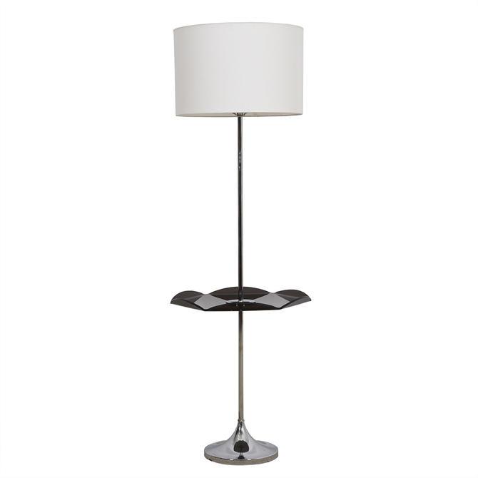 Mid Century Chrome Floor Lamp w / Fluted-Edge Lucite Table