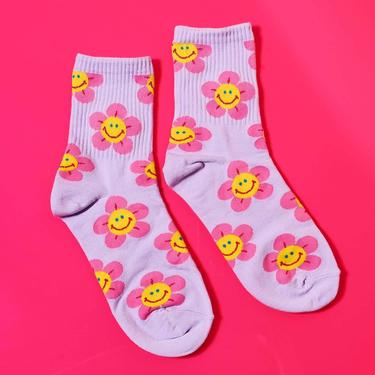 Flower Smiley Face Socks