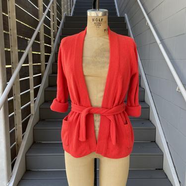 1970s Burnt Orange 100% Cashmere Cardigan with Pockets and Belt