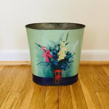 Vintage Waste Basket Small Metal Trash Can Art Deco Floral by AuntyEntitysVintage