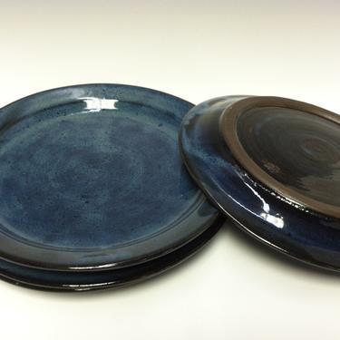 handmade dinner plate, ceramic plate, stoneware dinner plate, wedding registry, blue plate, midnight blue, royal blue, dark blue, rustic by altheaspottery