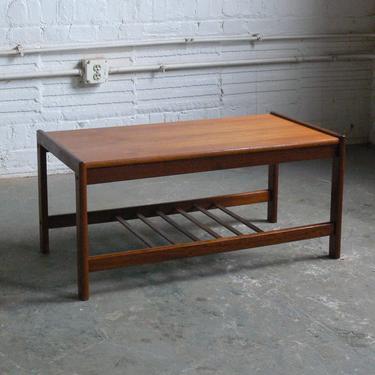Danish Teak Bar Coffee Table with Slated Shelf by BRDR Furbo by CoMod