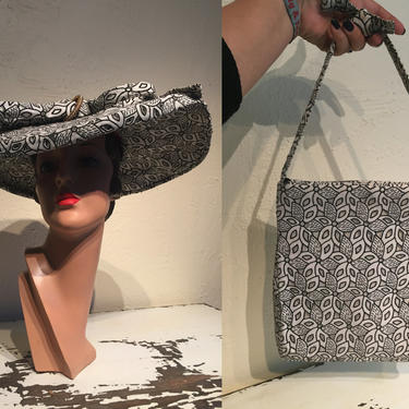 Mirrored Reflections - Vintage 1950s Ivory White & Black Cotton Eyelet Oval Platter Wide Brim Hat w/Matching Bag by RoadsLessTravelled2