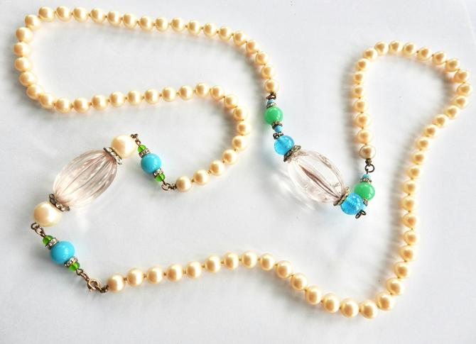 Clear and Turquoise Lucite Faux Pearl Necklace with Rhinestones by LegendaryBeast
