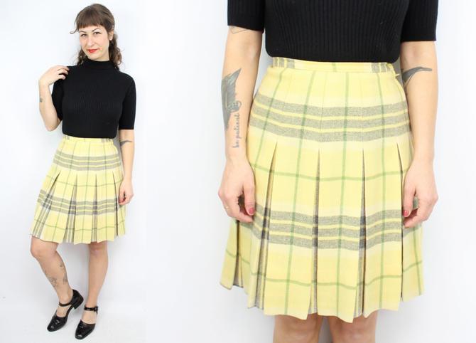 defd2180a7 Vintage 60' 70's Yellow Plaid Wool Skirt / 1960's Plaid ...