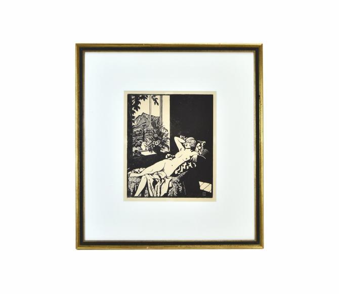 Original 1927 Russian Woodblock Woodcut Print Nude in Repose by PrairielandArt