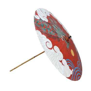 Chinese Handmade Large Round Green Dragon Theme Paper Umbrella Shade cs6974E by GoldenLotusAntiques