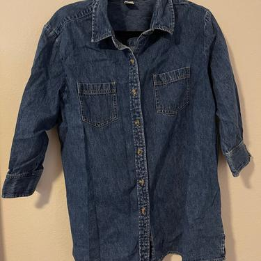 3) vintage Cherokee denim button down three quarter sleeve with double breast pockets by GRACEandCATS