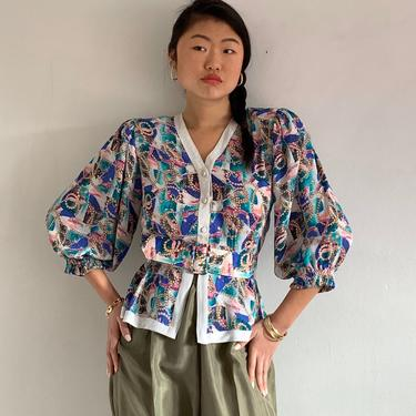 80s Diane Freis blouse / vintage floral puff sleeve belted peplum blouse / floral georgette nipped waist peplum blouse | XS S by RecapVintageStudio