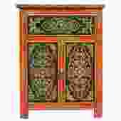 Tibetan Oriental Black Orange Floral End Table Nightstand cs4907S