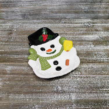 Vintage Snowman Platter, Hand Painted Frosty the Snowman, Cookie Tray Table Decor, 1980s Holiday Candy Dessert Dish, Retro Vintage Christmas by AGoGoVintage