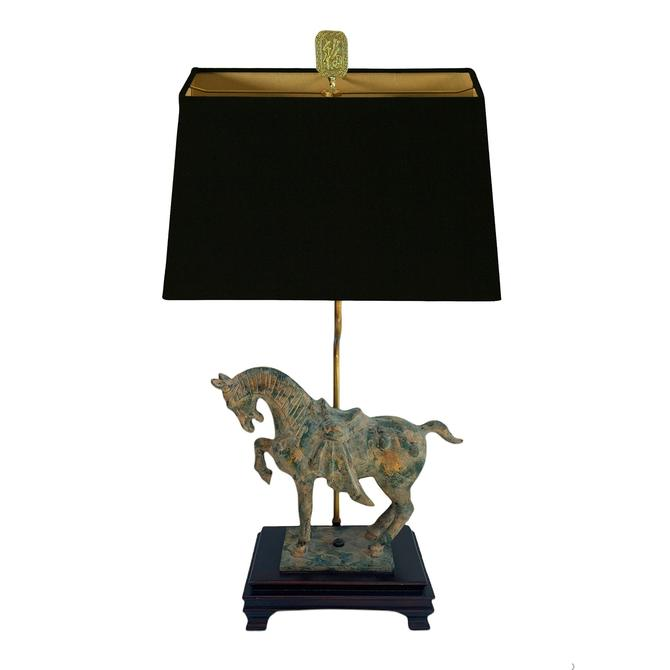Vintage Tang Dynasty Cast Iron Horse Lamp by TheModernHistoric