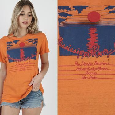 Vintage 1978 Mississippi River Jam Shirt / Doobie Brothers Band Tee / Van Halen Rock T Shirt / Journey Festival Concert Tour by americanarchive