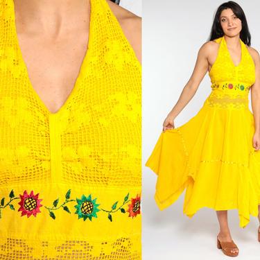 Mexican Halter Dress Handkerchief Yellow Crochet EMBROIDERED Boho HANKY Bohemian 1990s Halter Neck Vintage Deep V Hippie Floral Medium Large by ShopExile