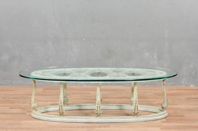 Provincial Carved Patina Glass-Top Coffee Table – ONLINE ONLY