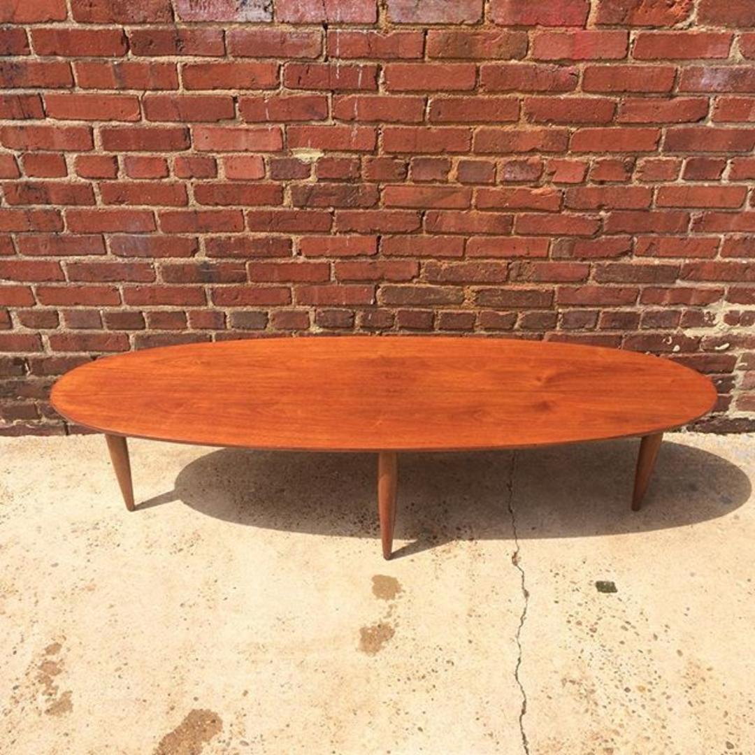 Mersman Surfboard Top Midcentury Modern Coffee Table From