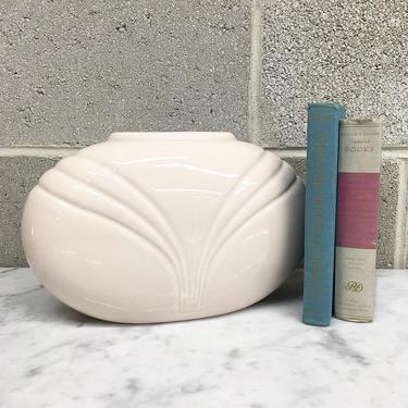 Vintage Vase Retro 1980s Art Deco Revival + Contemporary + Light Pink + Ceramic + Oval Shape + Table and Bookshelf Decor + Home Decor by RetrospectVintage215