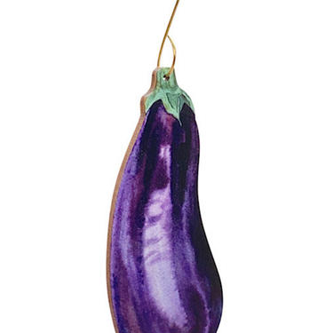 Eggplant Ornament - Perfect for any green thumb - Reforested Wood by GreenTreeJewelry