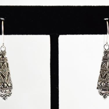 70's beaded Bali sterling teardrop hippie boho dangles, edgy oxidized 925 silver ornate Byzantine tribal drop earrings by BetseysBeauties
