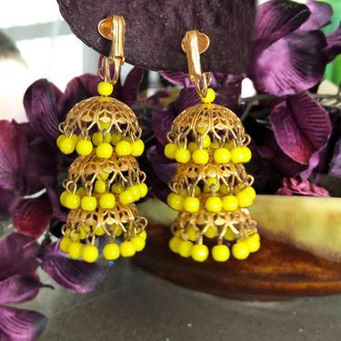 Vintage Chandelier Earrings 1960's Yellow Bright Green Gold Brass MOD Hippie Jewelry, 1950's Clip On Mid Century Drop Dangle Ear rings by Boutique369