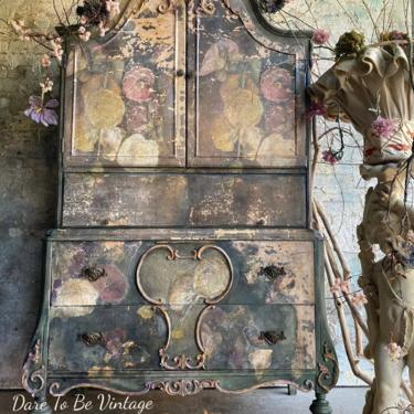 Sold Hand Painted Floral Armoire Wardrobe Cabinet ~ French Country Painted Armoire Cabinet ~ Floral Hand Painted Cabinet ~ Painted Furniture by DareToBeVintage
