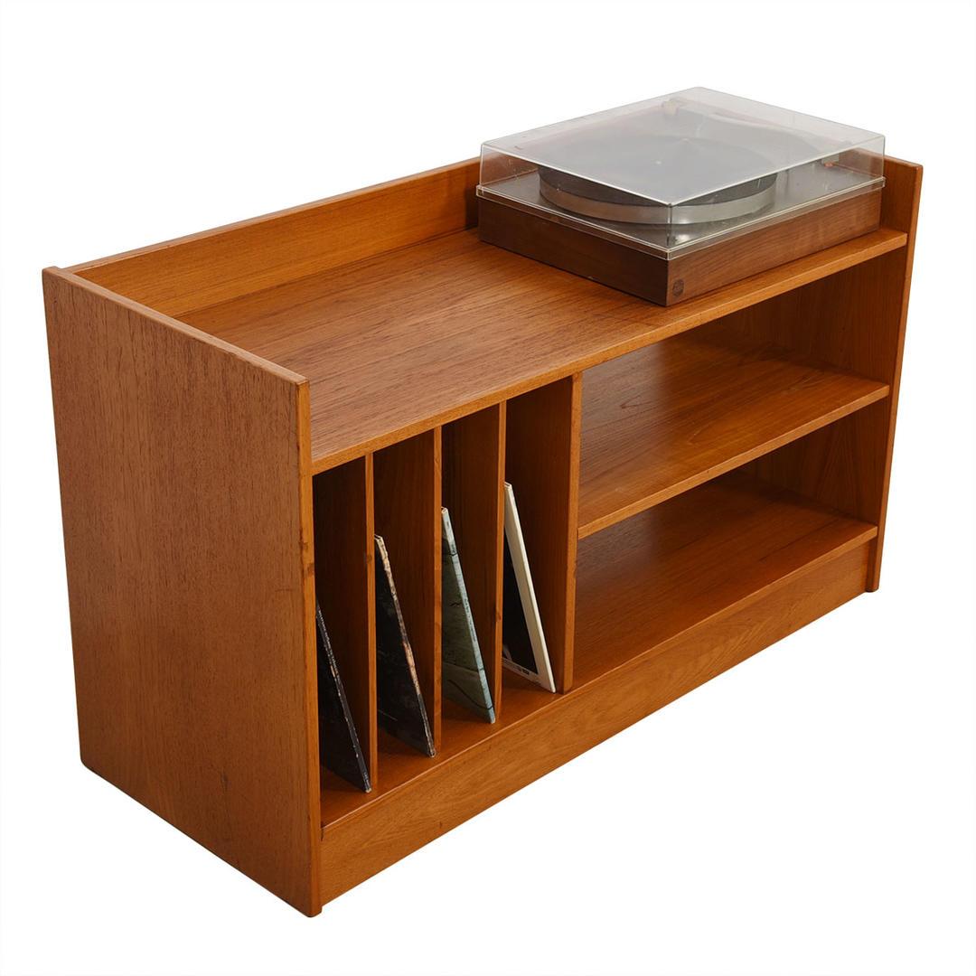 Danish Modern Teak Compact Media Record Shelf Unit From