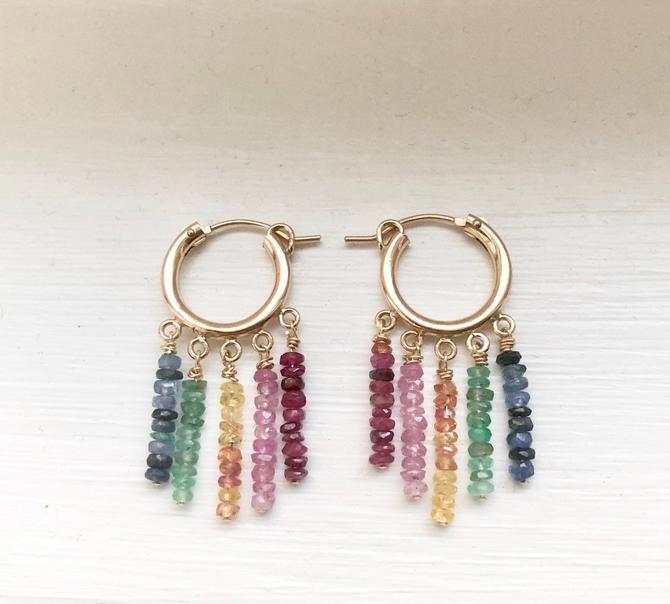 Rainbow Hoops- 14k goldfill rainbow corundum drops sapphires and rubies by RachelPfefferDesigns