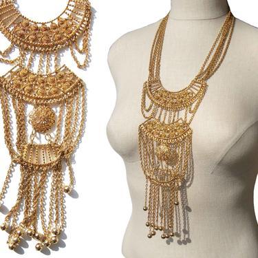 Vintage 70s Etruscan Revival Statement Necklace Chain Fringe by MetroRetroVintage