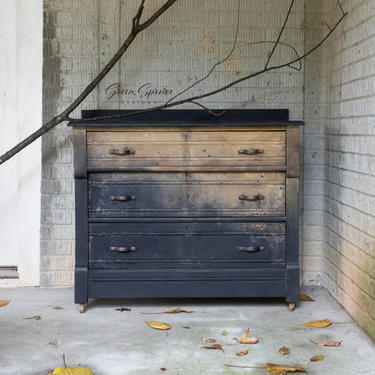 Hand Painted Chest of Drawers, Small Industrial Style Dresser by GreenSpruceDesigns