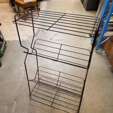 Vintage Steel Wire Magazine Rack H33.5 x W20.25 x D12