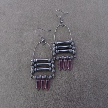 Modern chandelier earrings, hematite abstract earrings, futuristic ethnic statement earrings, bold gray earrings, unique steampunk earrings2 by Afrocasian