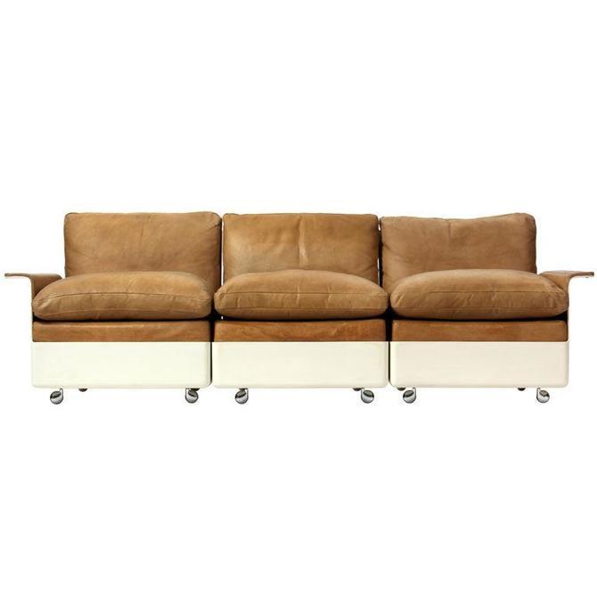 Model 620 Fiberglass and Leather Three Seat Sofa