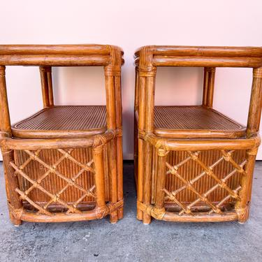 Pair of Rattan Magazine End Tables