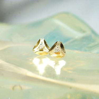 Vintage Minimalist 14K Gold Diamond Stud Earrings, Yellow Gold Rounded Triangle Studs, Prong-Set Accent Diamonds, 585 Pushbacks, 8.5mm by shopGoodsVintage