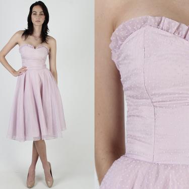 Gunne Sax Lilac Wedding Dress / Jessica McClintock Full Skirt Prom Dress / Swiss Polka Dot Bridal Dress / 70s Chiffon Party Strapless Gown by americanarchive