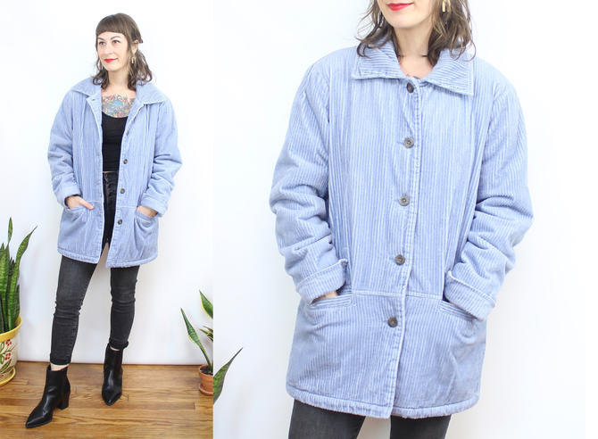 Vintage 90's Powder Blue Corduroy Lined Chore Coat / 1990's Baby Blue Market jacket / Fuzzy Lined / Women's Size Small Medium by RubyThreadsVintage