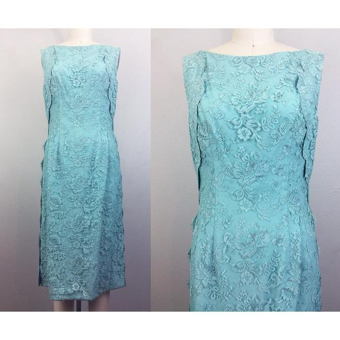 Vintage 60s Blue Lace Dress Robins Egg Party Cocktail Prom Mod 1960s M by FlashbackATX