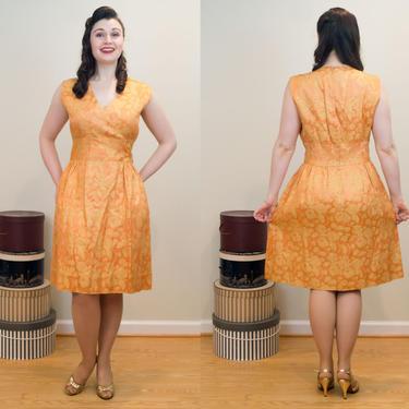 SALE PRICE 1960s Vintage Dress - Glamorous Gold Damask Cocktail Dress VOLUP by DomesticatedPinup