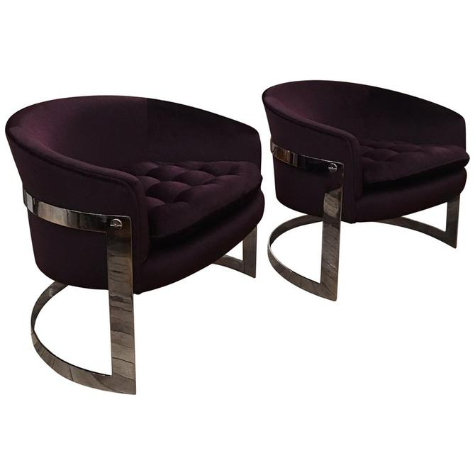 Baughman Chrome Barrel Lounge Chairs