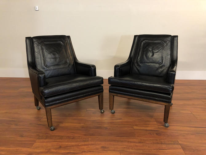 Monteverdi-Young Leather Club Chairs Pair by Vintagefurnitureetc