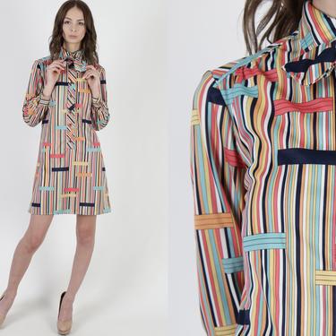 1970s Geometric Striped Bow Tie Dress / Vintage 70s Pastel Stripe Dress / Minimalist Disco Party Shift Shirt Mini Dress by americanarchive