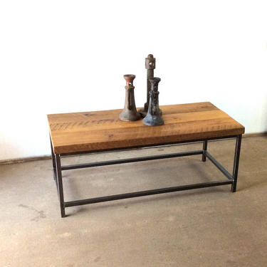 Stoic Reclaimed Wood Coffee Table / Industrial Metal Frame Base by wwmake
