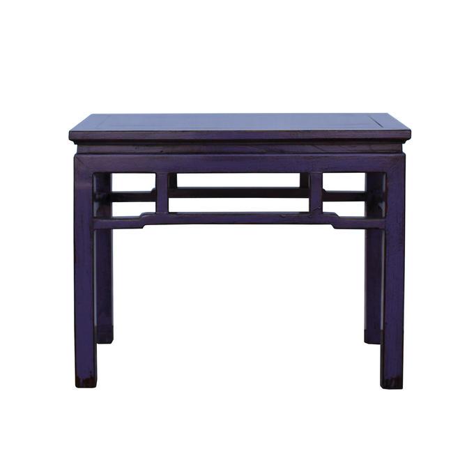 Oriental Zen Ming Style Wood Distressed Purple Lacquer Bench cs5338E by GoldenLotusAntiques